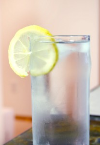water glass.lemon